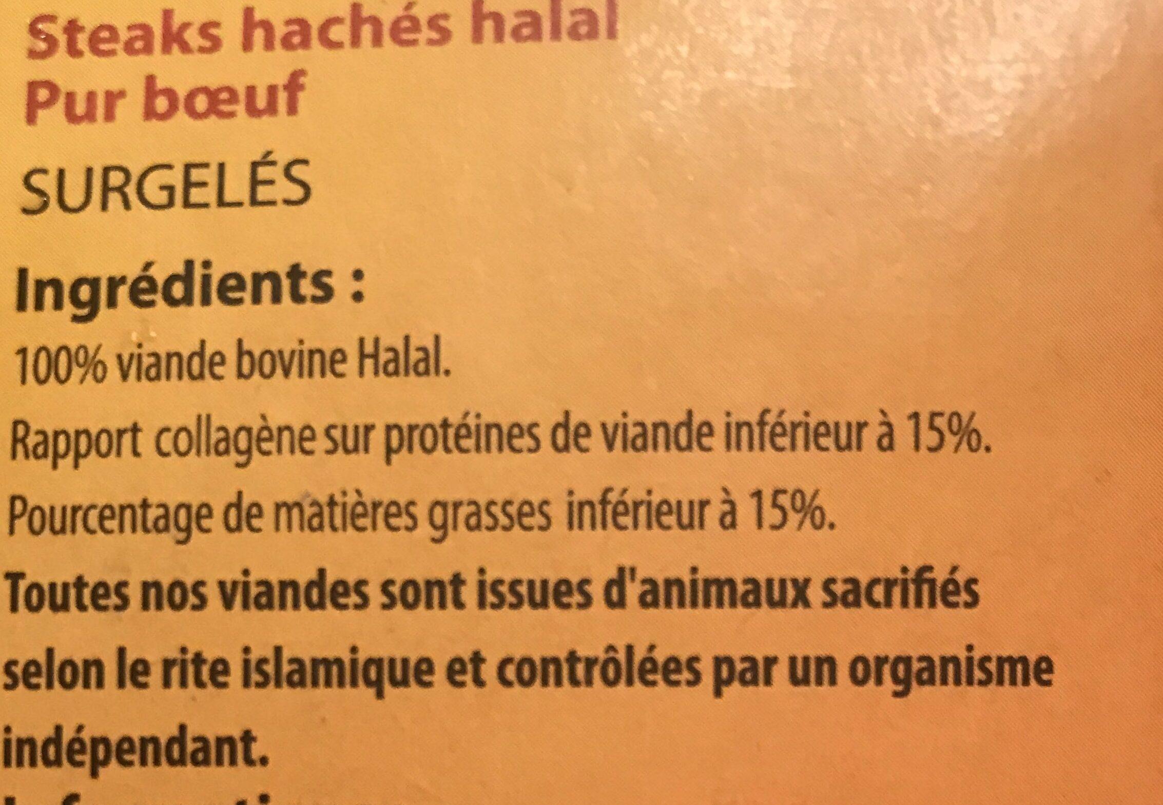 Steaks hachés pur bœuf halal - Ingrédients - fr