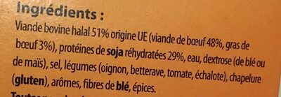 10 Burgers oignon halal Surgelé - Pourcentage de matières grasses inférieur à 15% - Ingredients