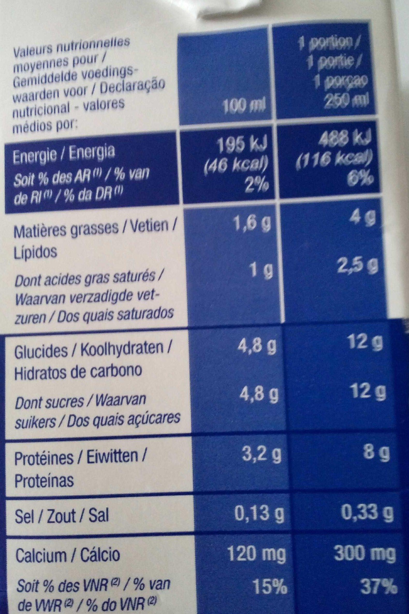 Lait stérilisé UHT demi-écrémé - Informations nutritionnelles - fr