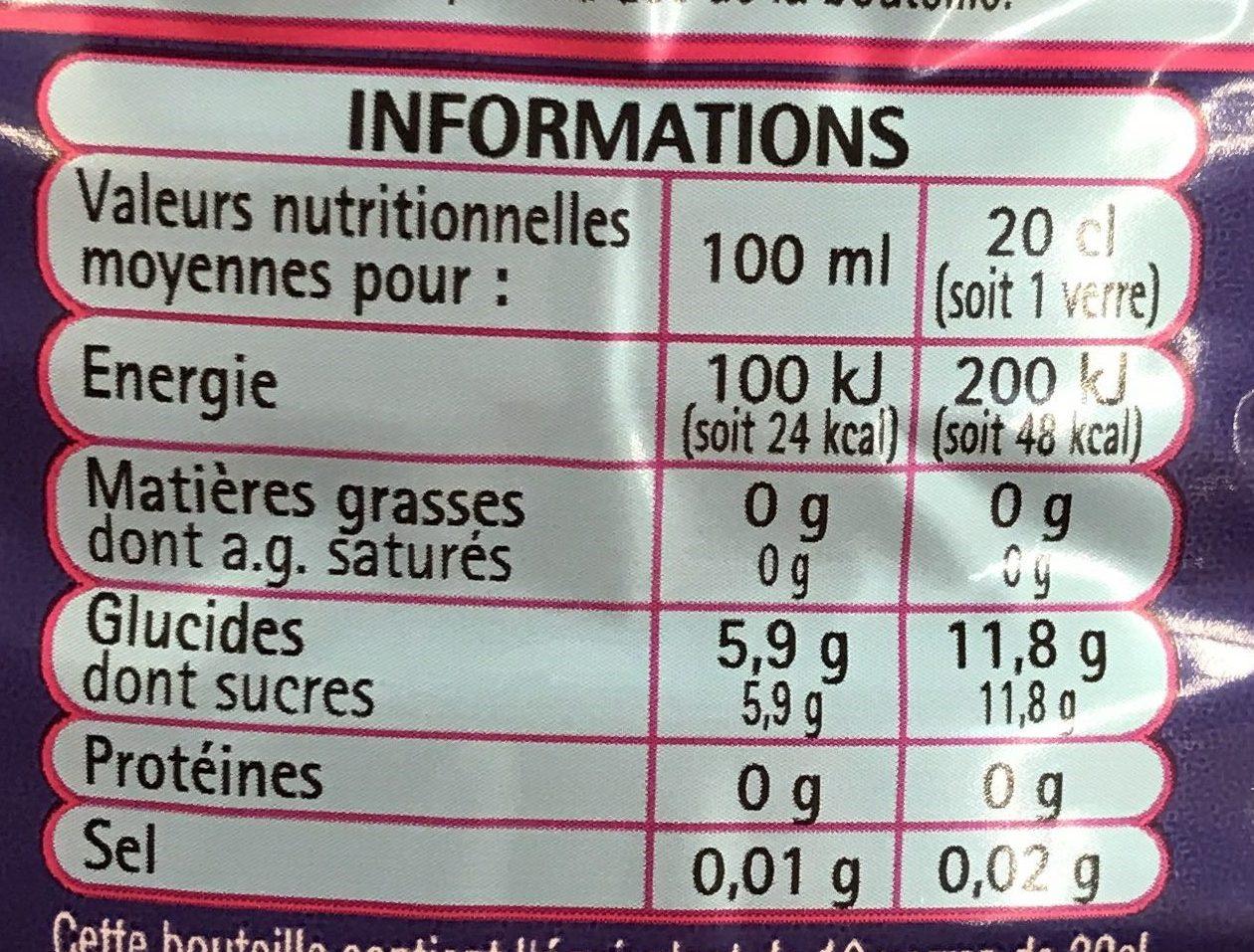 Boisson Goût Exotique - Informations nutritionnelles