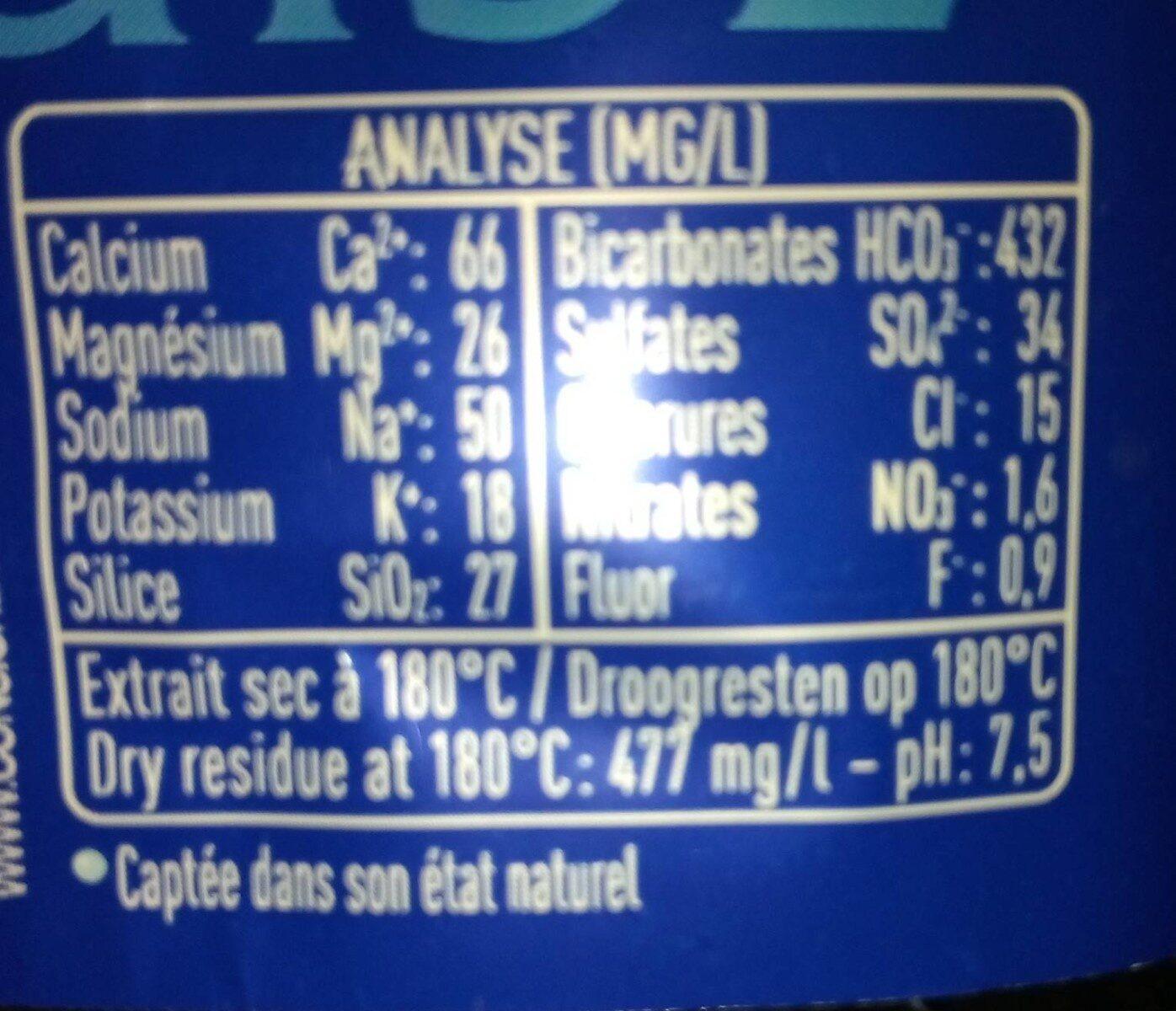 Eau de source cristaline - Valori nutrizionali - fr