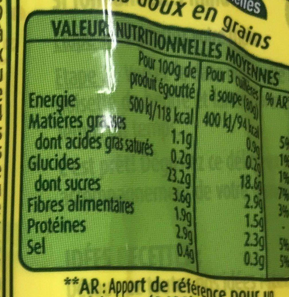 Maïs blanc extra-fin à poêler - Nutrition facts