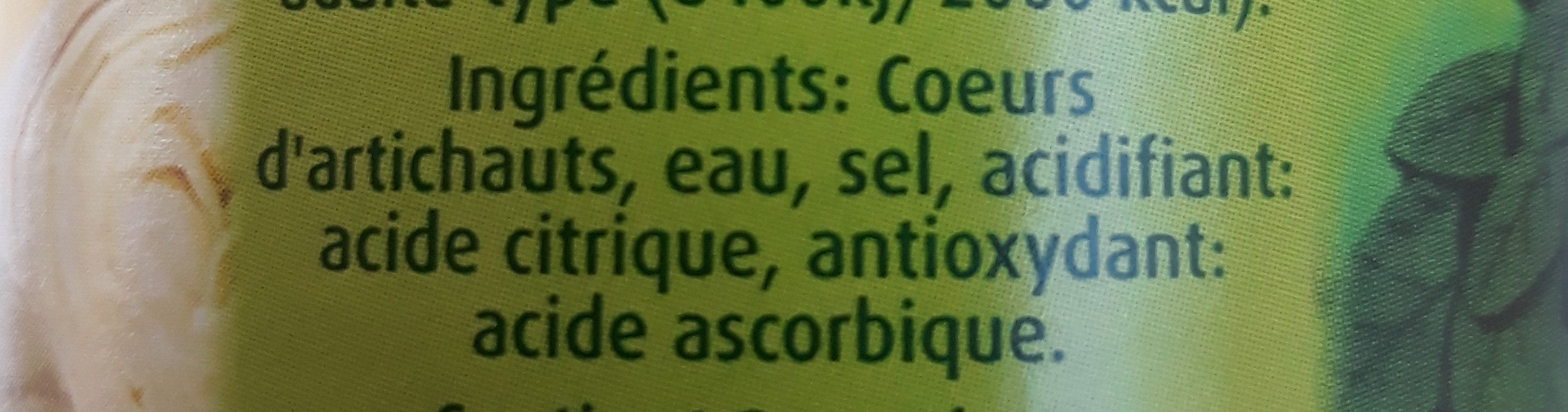 Coeur d'artichaut - Ingrediënten