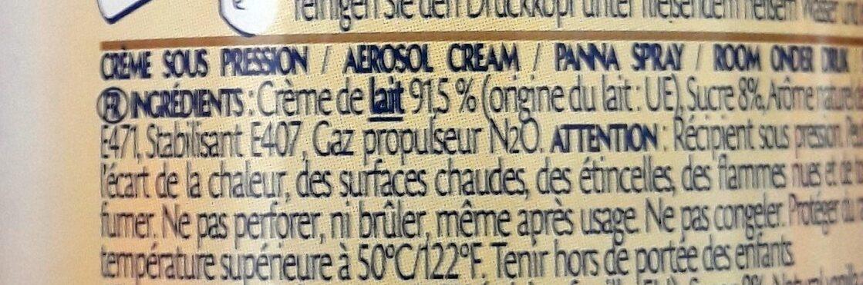 Crème à la vanille de madagascar - Ingrédients