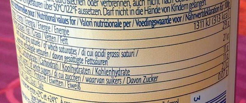 Crème à la vanille de madagascar - Informations nutritionnelles - fr