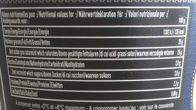 Crème d'Isigny 35% MG 20cl - Voedingswaarden - fr