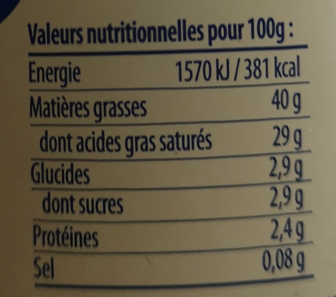 Crème d'Isigny - Nutrition facts - fr