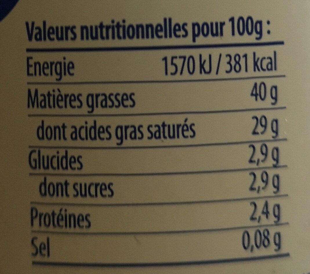 Crème fraîche d'Isigny - Nutrition facts - fr
