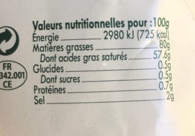 Beurre demi-sel gros grains - Informations nutritionnelles - fr
