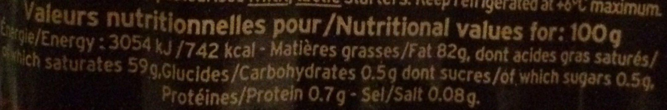 BEURRE DE BARATTE DX 250 G - Informations nutritionnelles - fr