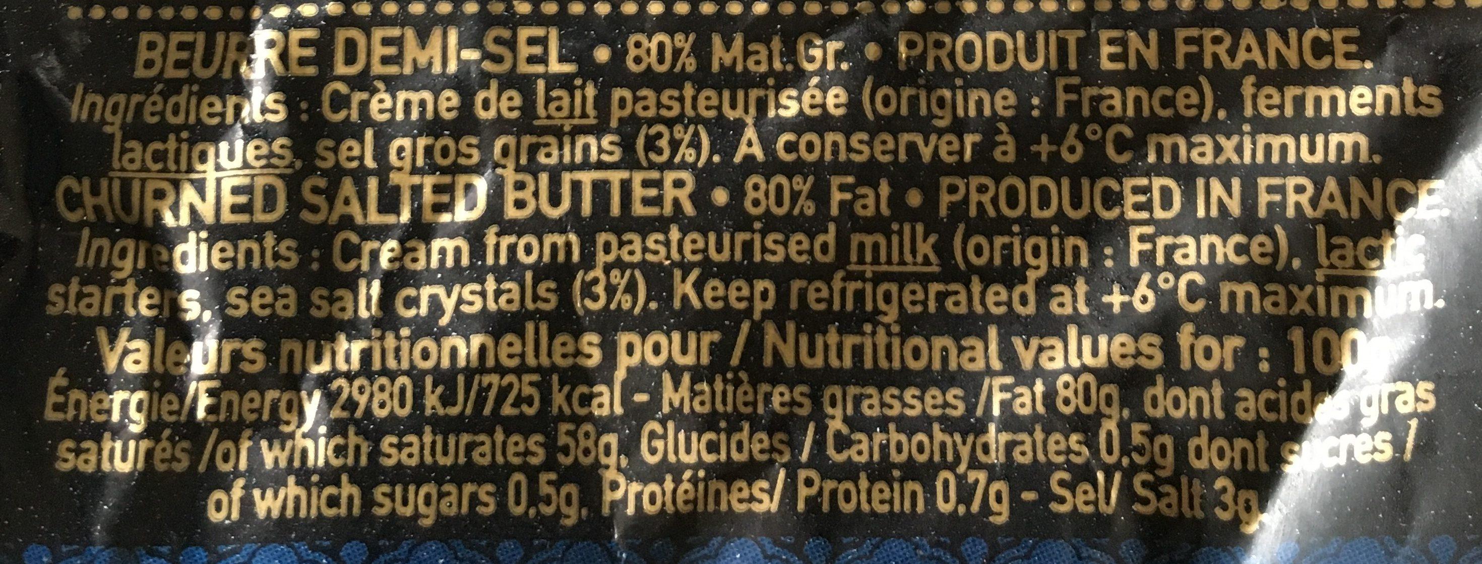 Beurre de baratte aux cristaux de sel de guérande - Ingrediënten - fr