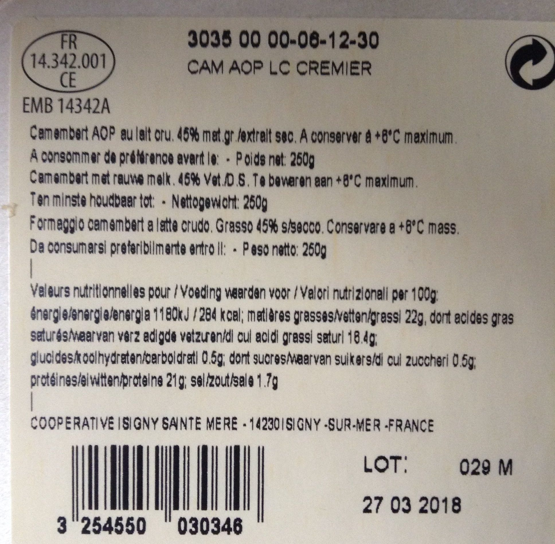 Camembert de Normandie au lait cru - Ingredients - fr