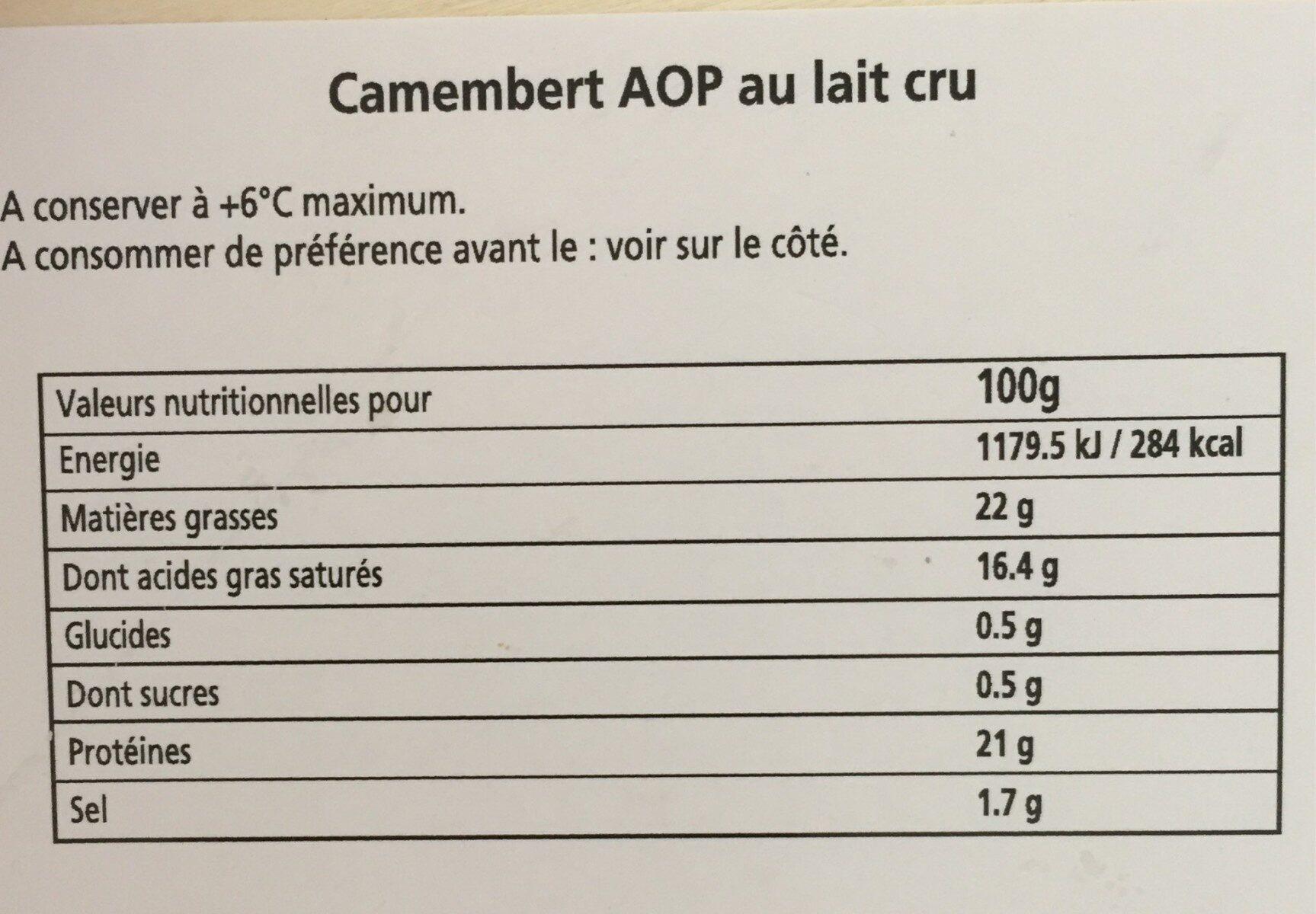 Camembert de Normandie (22% MG) - Nutrition facts - fr