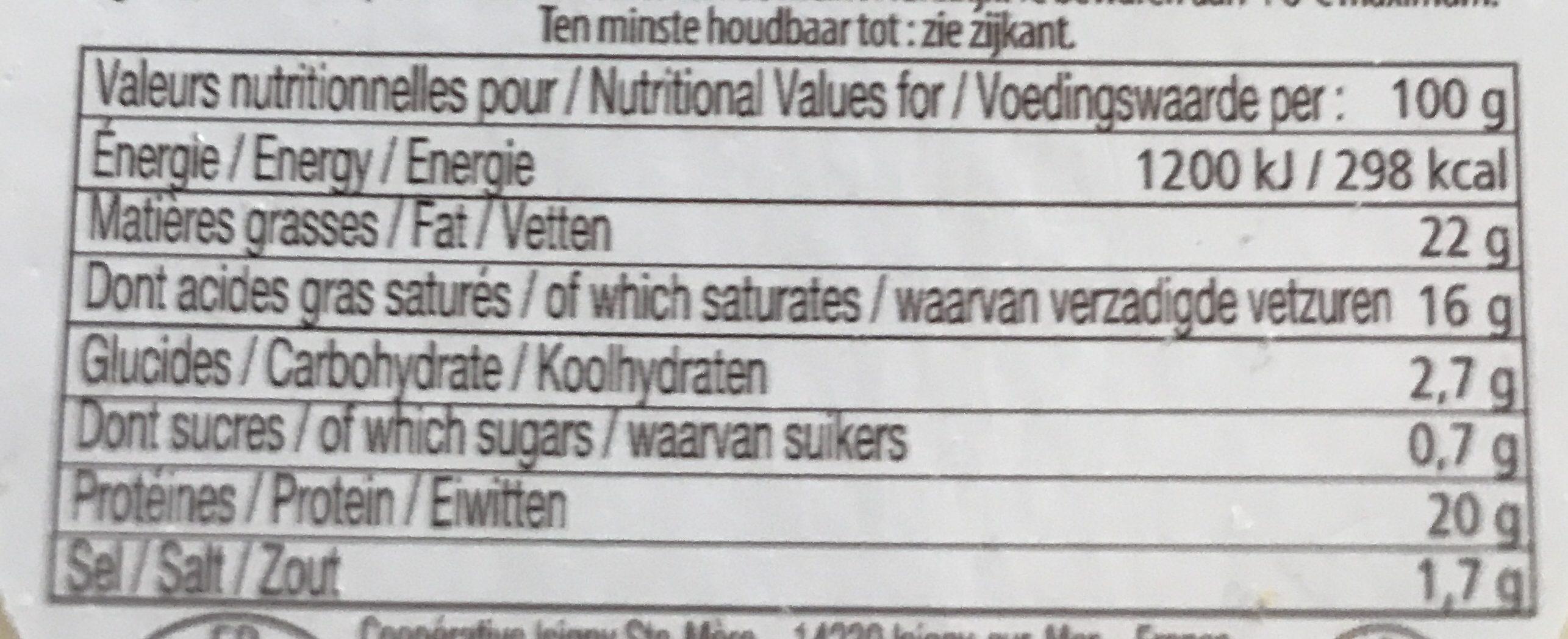 Camembert affiné au Calvados (22% MG) - Voedingswaarden - fr