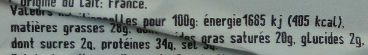 Mimolette extra-vieille française (40% MG) - Informations nutritionnelles - fr