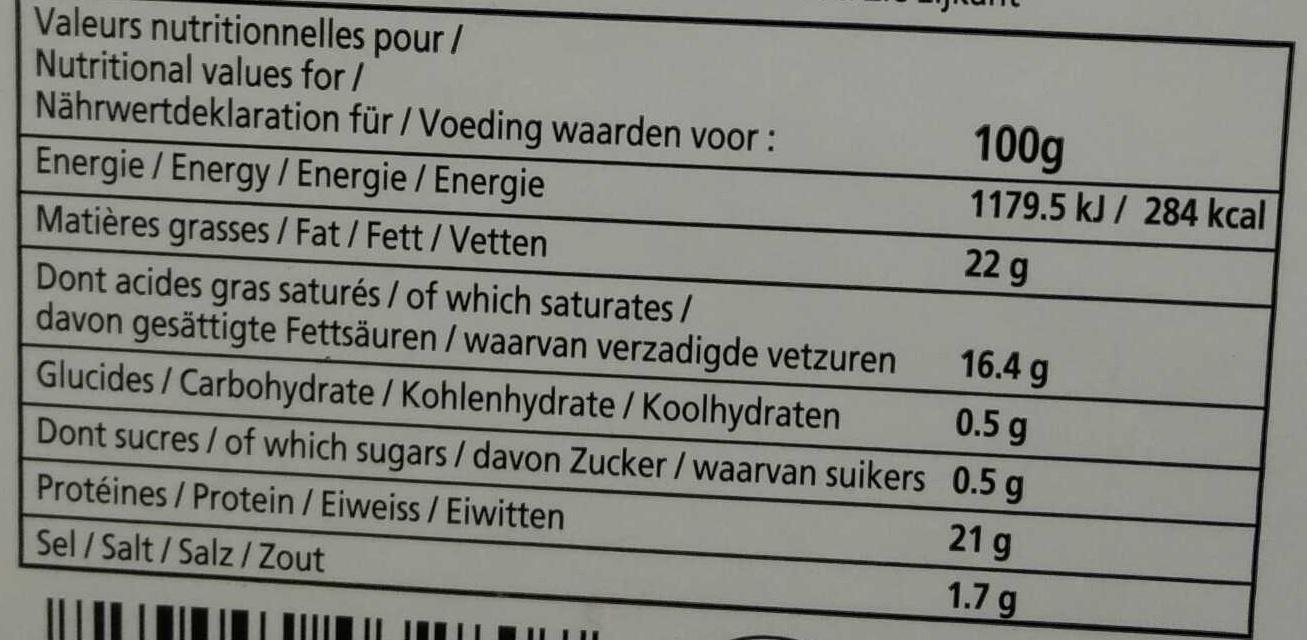 Camembert d'Isigny moulé à la louche Bio (22% MG) - Nutrition facts