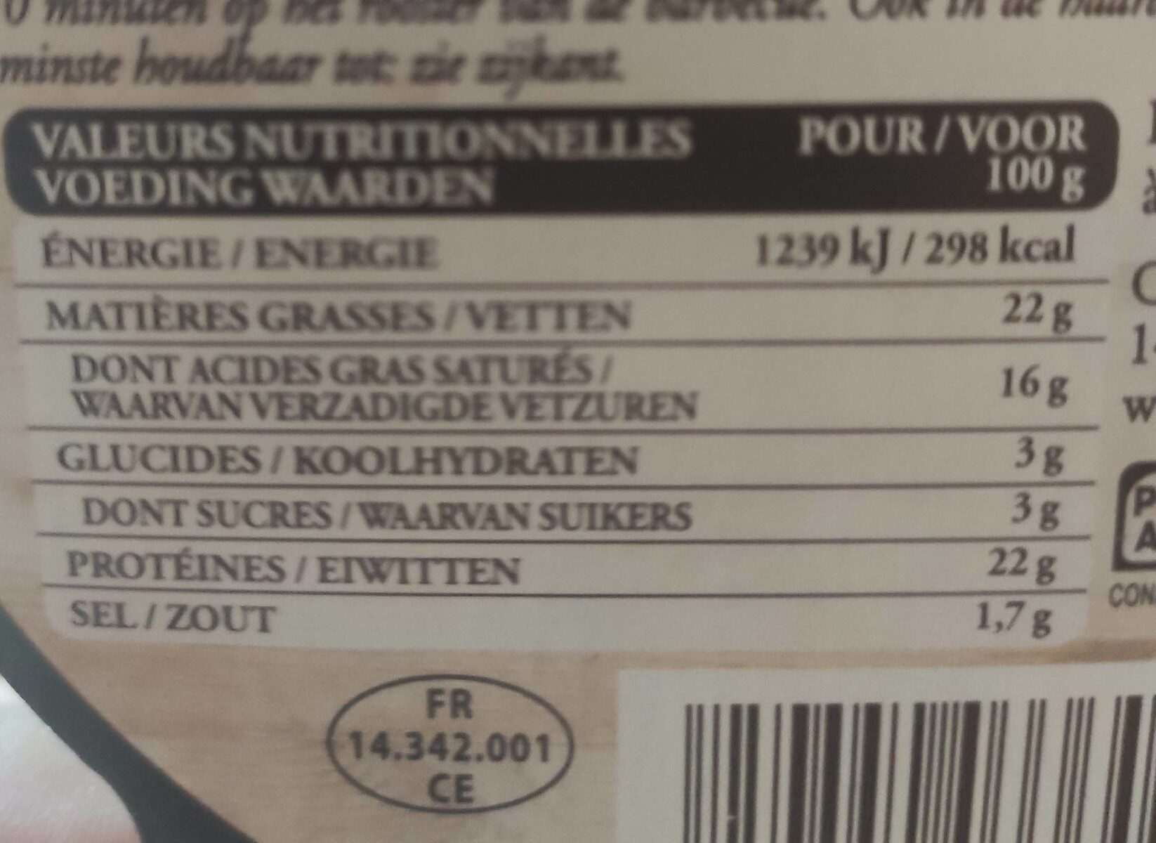 Camembert chaud - Informations nutritionnelles - fr