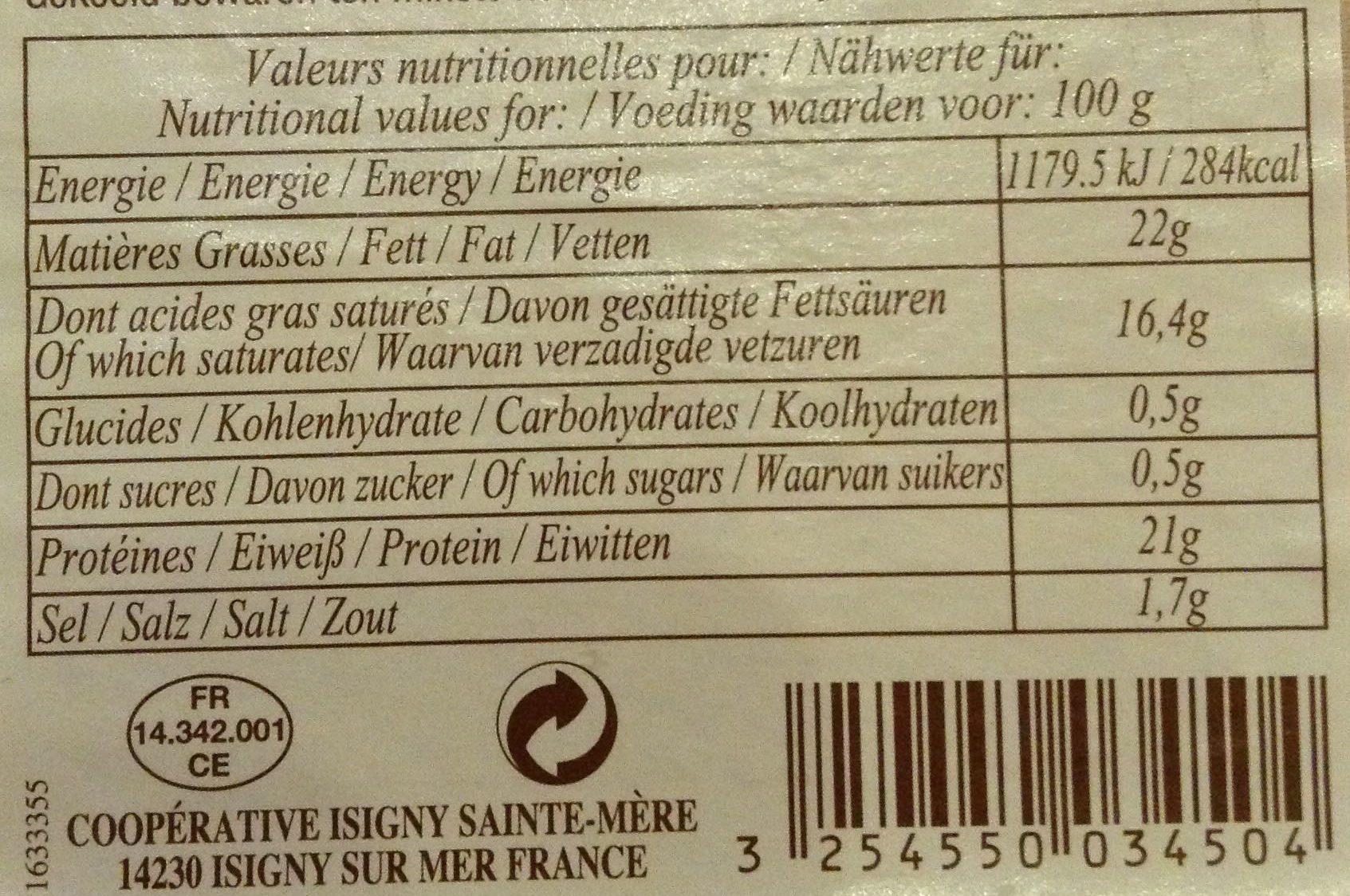 Petit Pont l'Évêque - Nutrition facts