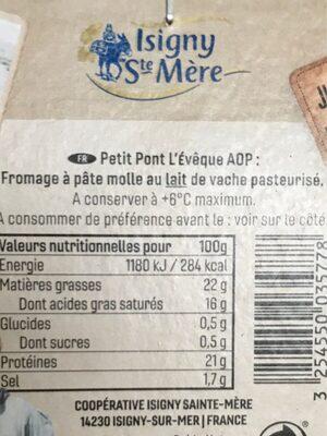 Petit Pont l eveque - Ingrediënten