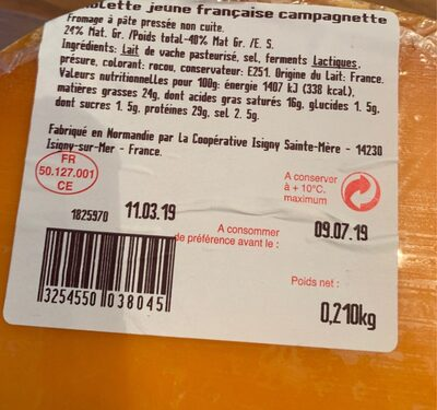 Mimolette jeune francaise - Ingredients