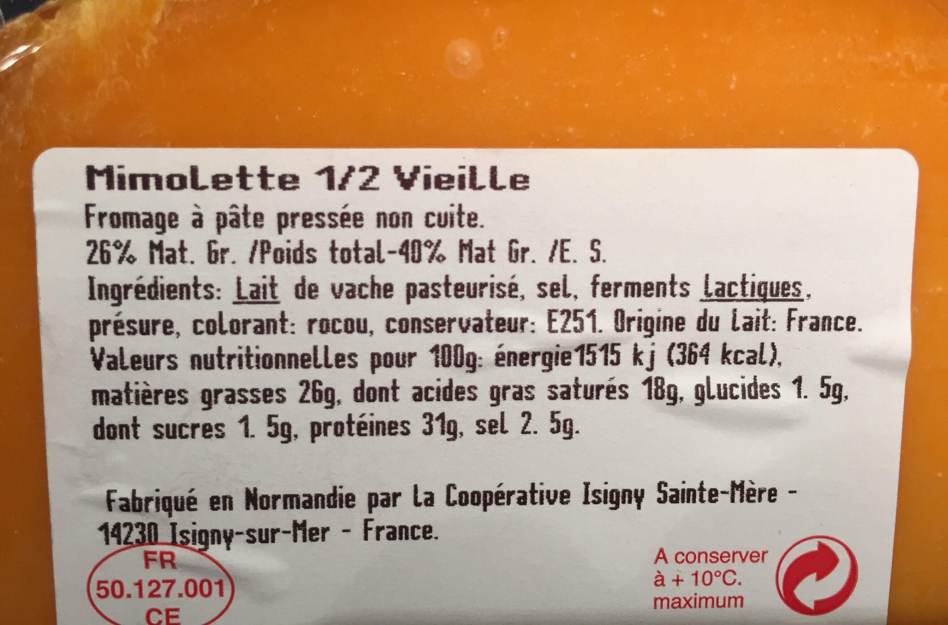 Mimolette Demie Vieille Au Lait Pasteurisé, 27%MG - Ingredients - fr