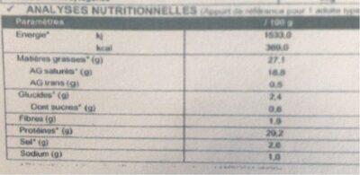 Mimolette Demie Vieille Au Lait Pasteurisé, 27%MG - Informació nutricional - fr