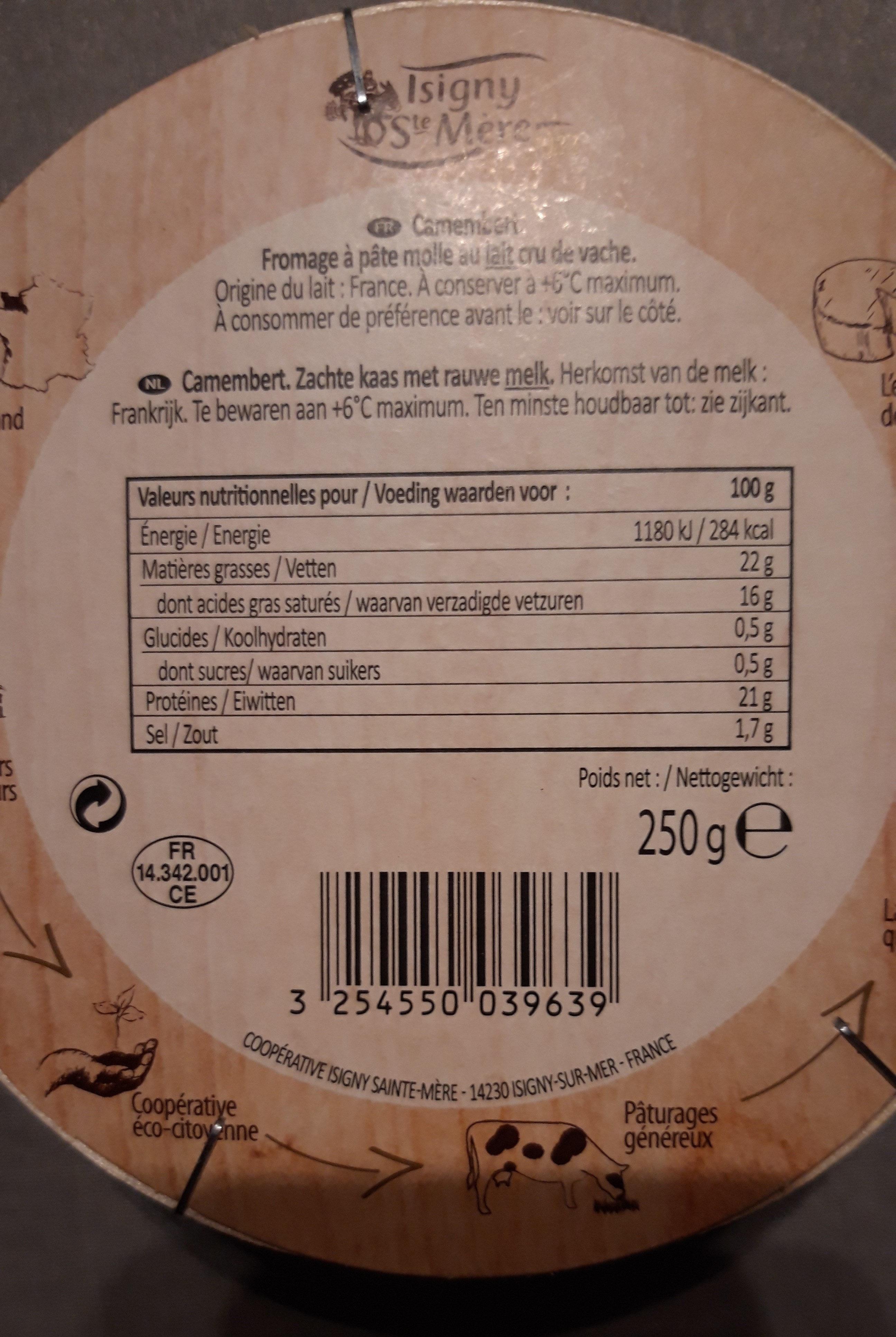 Camembert au lait cru moulé à la louche (22% MG) - Ingrediënten - fr