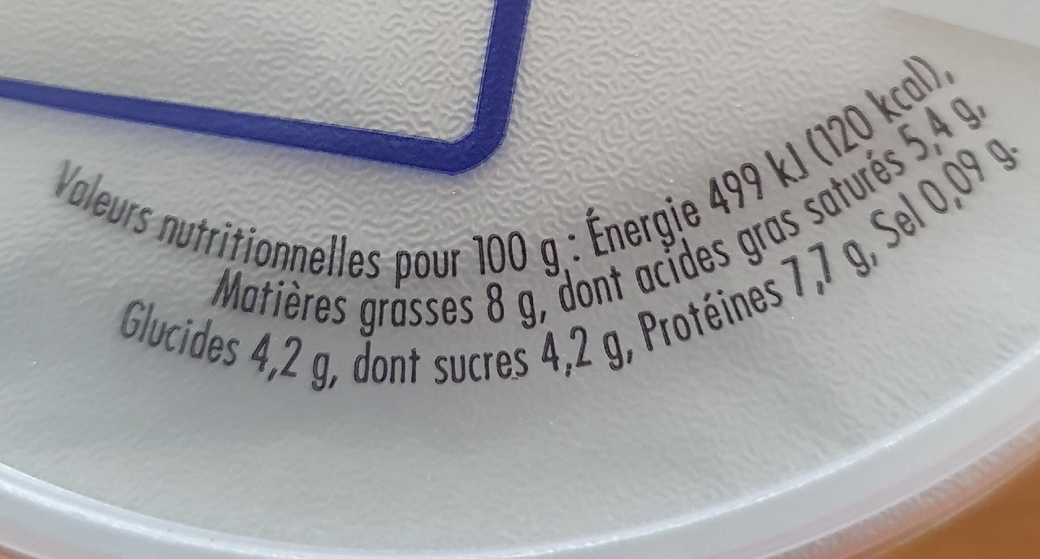 Fromage frais onctueux - Nutrition facts - fr