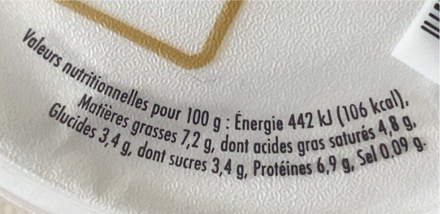 Lait de Normandie - Fromage Frais Campagne 7.2 % Mat. Gr. - Nutrition facts - fr