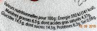 Fromage frais aux Fraises 6.5% Mg - Nutrition facts