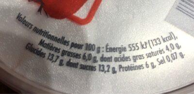 FROMAGE FRAIS FRAISES - Nutrition facts - fr