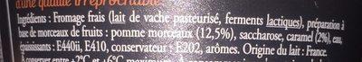 Fromages Frais aux Pommes Caramélisées - Ingrédients - fr