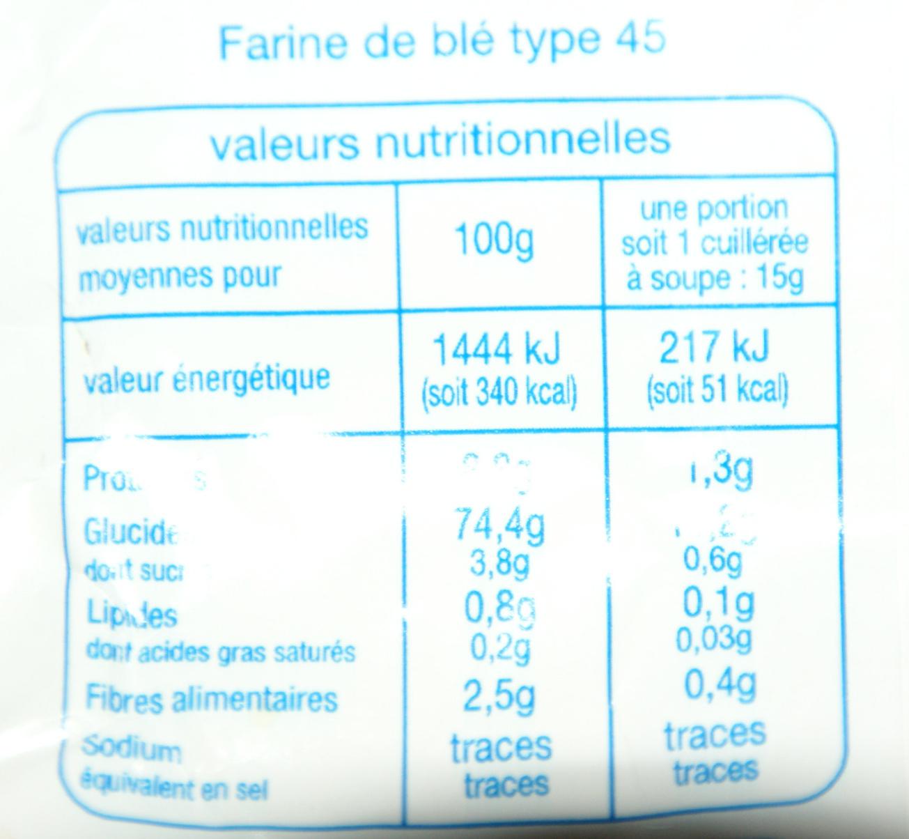Farine de blé T45 fluide sans grumeaux - Voedingswaarden - fr
