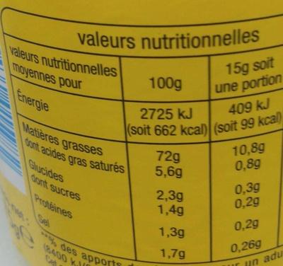 Mayonnaise aux oeufs frais - Valori nutrizionali - fr