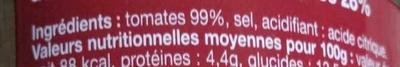 Double concentré de tomates (28%) - Ingrédients