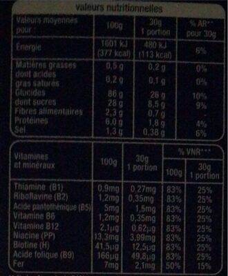 Sugar Flakes - Nutrition facts - fr