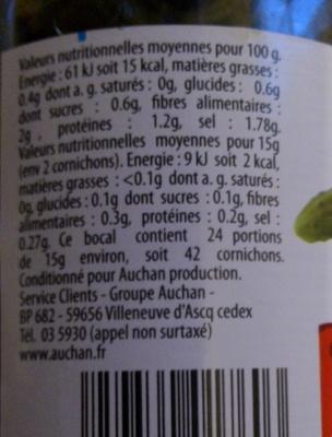 Cornichons très fins croquants - Informations nutritionnelles