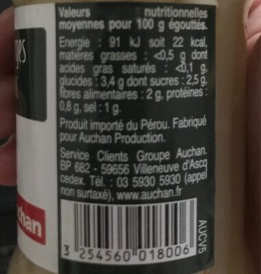 Asperges pic nic - Informations nutritionnelles - fr