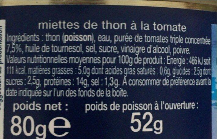 Miettes de thon a la tomate - Valori nutrizionali - fr