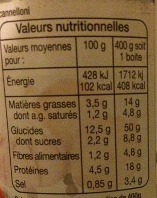Cannelloni à la sauce italienne (pur bœuf) - Informations nutritionnelles - fr