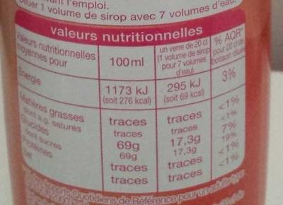 Sirop d'orange - Voedingswaarden - fr
