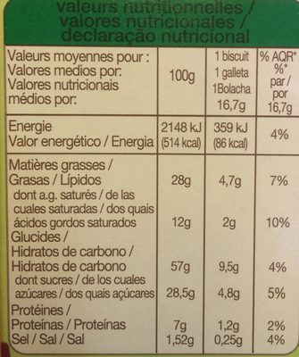 Cookies pepites de chocolat noix - Informations nutritionnelles - fr