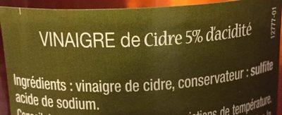 Vinaigre de cidre (5% d'acidité) - Ingrediënten