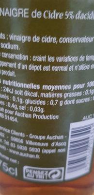 Vinaigre de cidre (5% d'acidité) - Voedigswaarden
