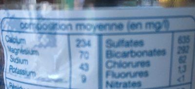 Eau minérale naturelle - Orée du bois - Informations nutritionnelles - fr