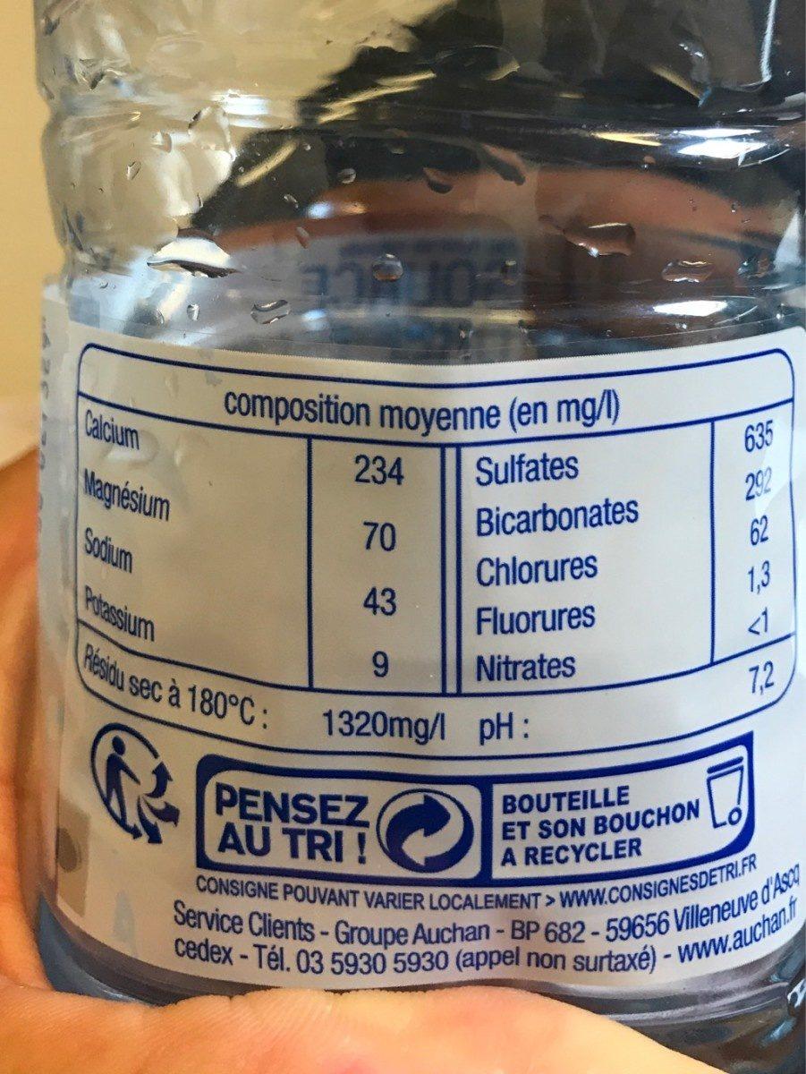 eau minérale naturelle - Voedigswaarden