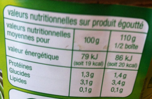 Haricots verts (extra fins) - Informations nutritionnelles - fr