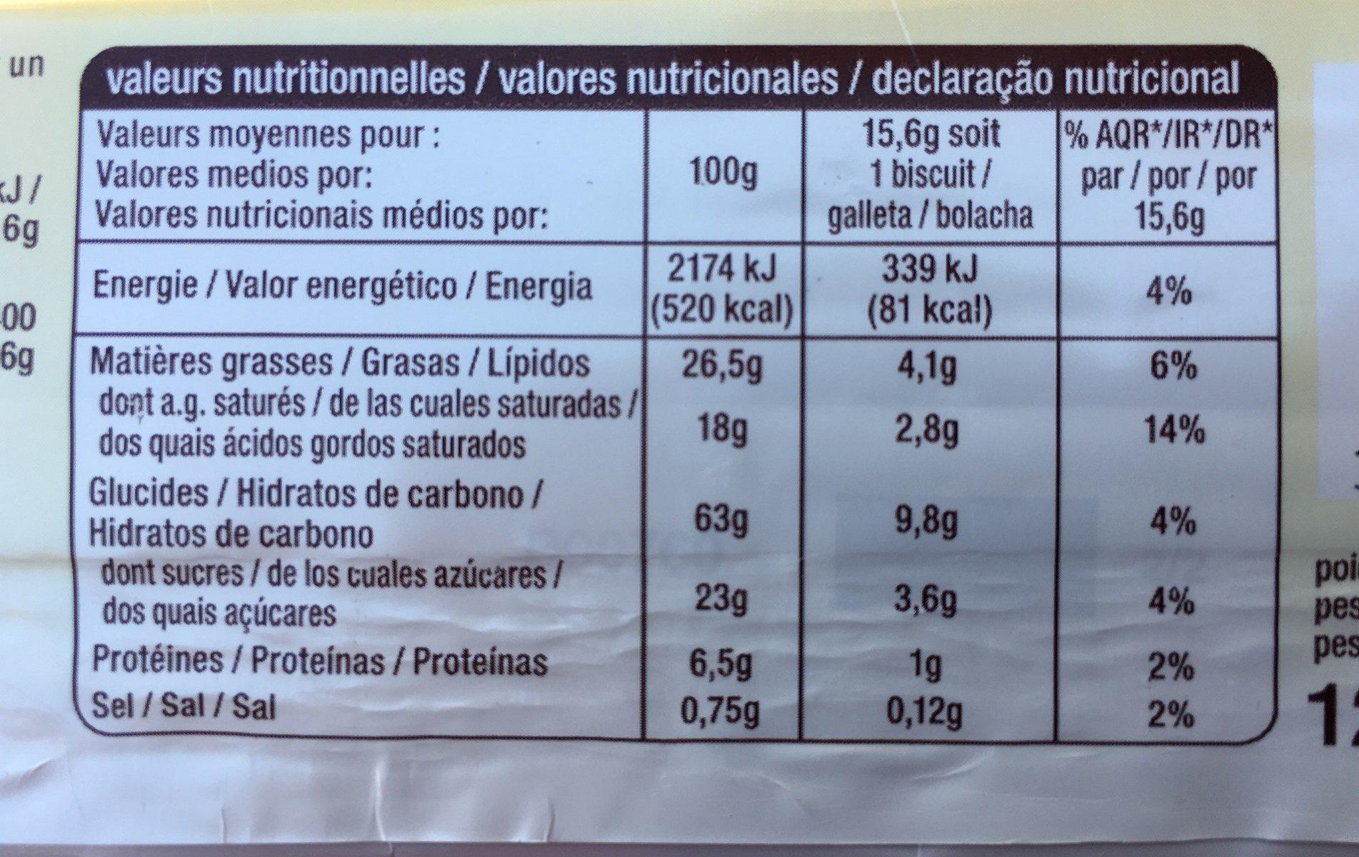 Palets bretons pur beurre - Informations nutritionnelles