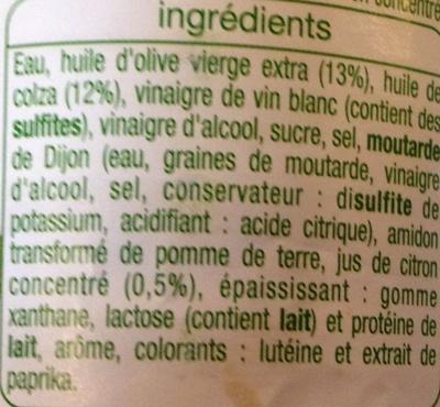 Vinaigrette Allégée en Matières Grasses à l'Huile d'Olive (13%) et Citron - Ingrédients - fr