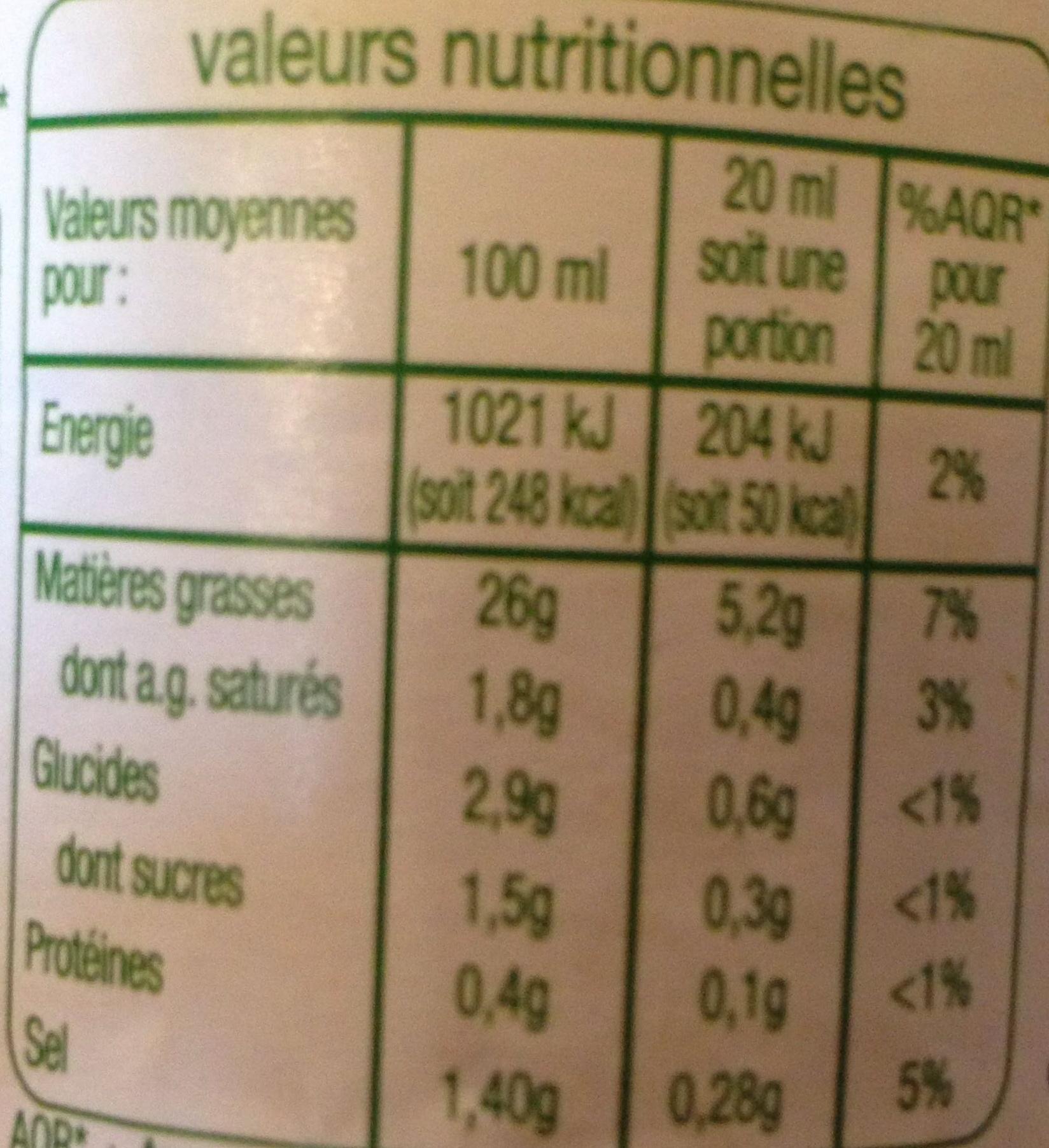 Vinaigrette Allégée en Matières Grasses à l'Huile d'Olive (13%) et Citron - Informations nutritionnelles - fr
